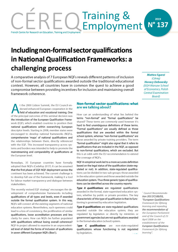 Including non-formal sector qualifications in NQF