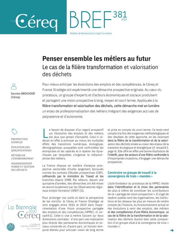 Vignette document Penser ensemble les métiers du futur. Le cas de la filière transformation et valorisation des déchets
