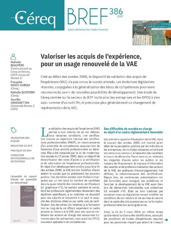 Vignette document Valoriser les acquis de l'expérience, pour un usage renouvelé de la VAE