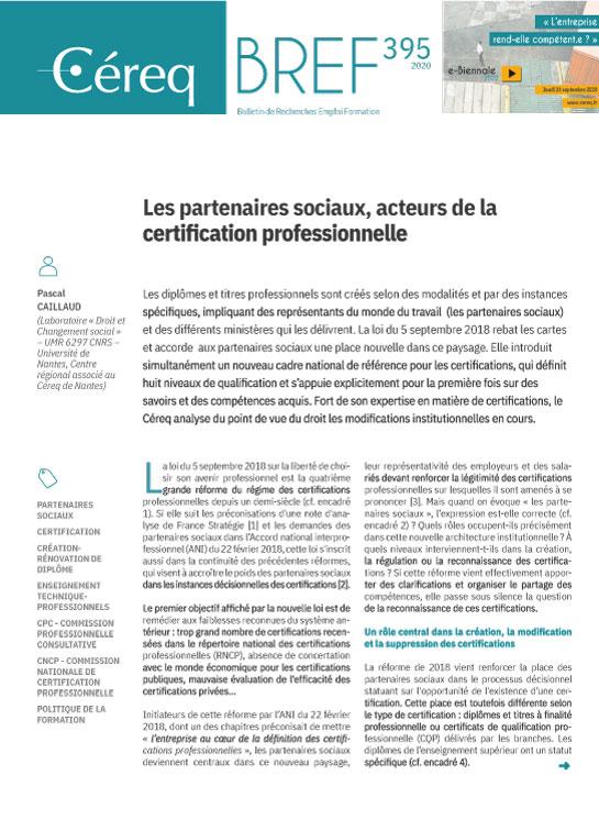 Vignette document Les  partenaires sociaux, acteurs de la certification professionnelle