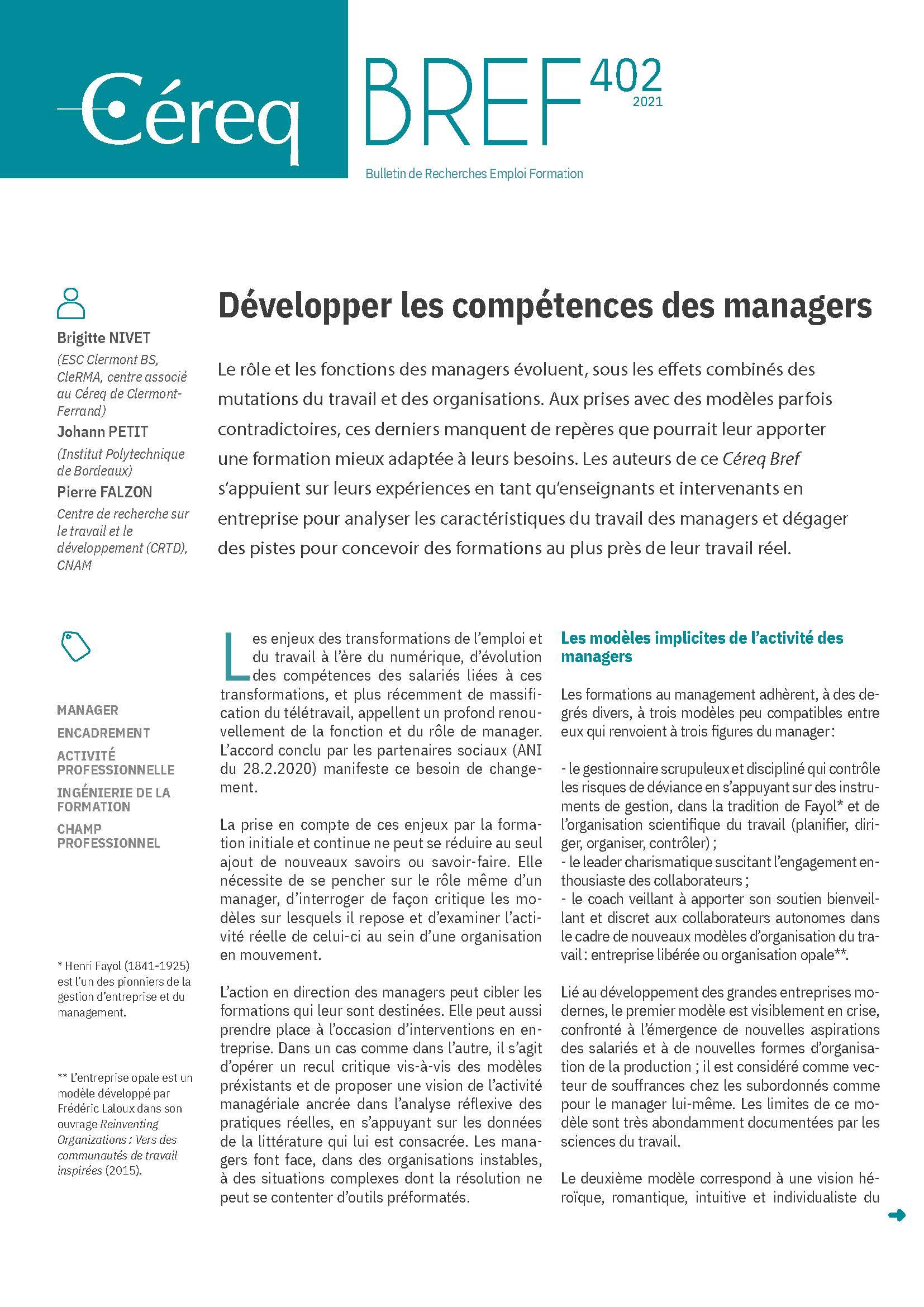 Vignette document Développer les compétences des managers