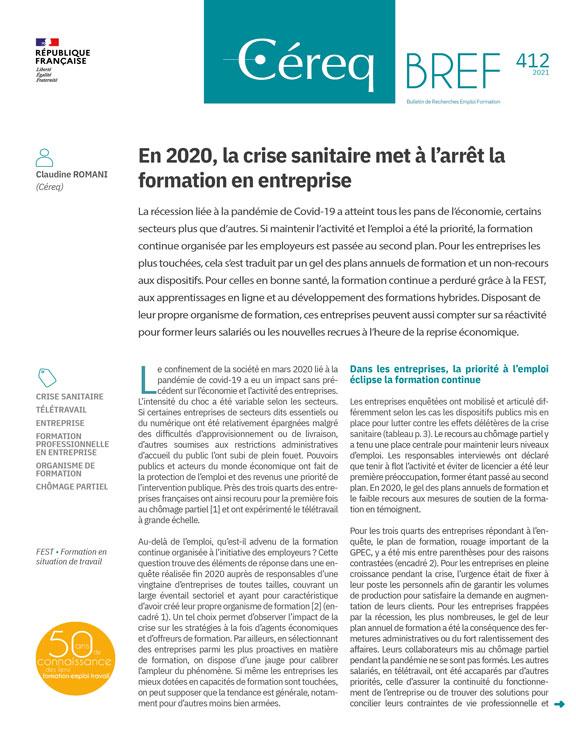 Vignette document En 2020, la crise sanitaire met à l'arrêt la formation en entreprise