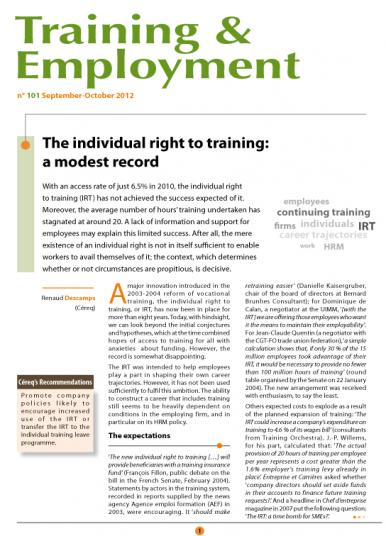 Training101_cover, The individual right to training: a modest record