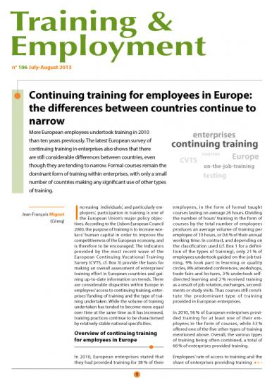 Training 106_cover - Continuing training for employees in Europe: the differences between countries continue to narrow