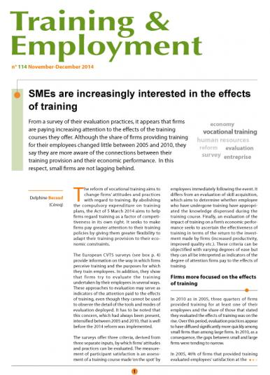 Training 114_cover - SMEs are increasingly interested in the effects of training