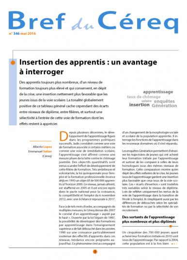 Couverture Céreq Bref 346 - Insertion des apprentis : un avantage à interroger