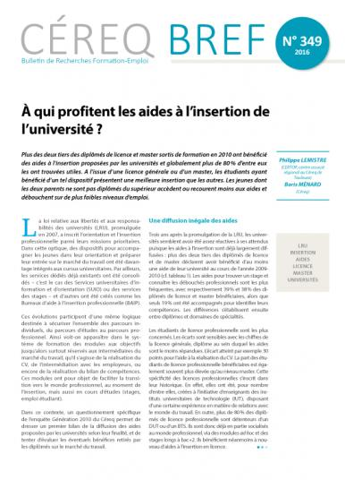 Couverture Céreq Bref 349 - A qui profitent les aides à l'insertion de l'université ?
