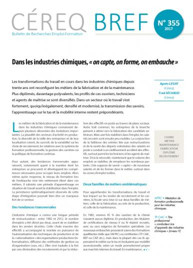 Couverture Céreq Bref 355 - Dans les industries chimiques, « on capte, on forme on embauche »