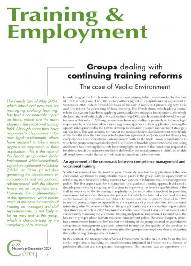 Training 77_cover - Groups dealing with continuing training reforms : the case of Veolia Environment.