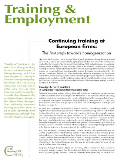 Training 80_cover - Continuing training at European firms : The first steps towards homogenization