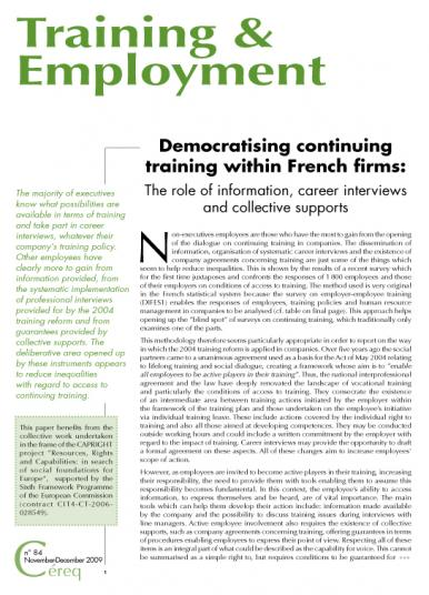 Training 84_cover - Democratising continuing training within French firms : The role of information, career interviews and collective supports