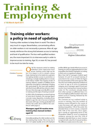 Training 92_cover - Training older workers: a policy in need of updating