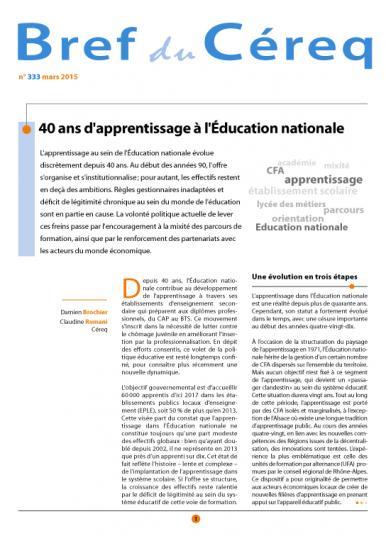 Couverture Céreq Bref 333 - 40 ans d'apprentissage à l'Education nationale